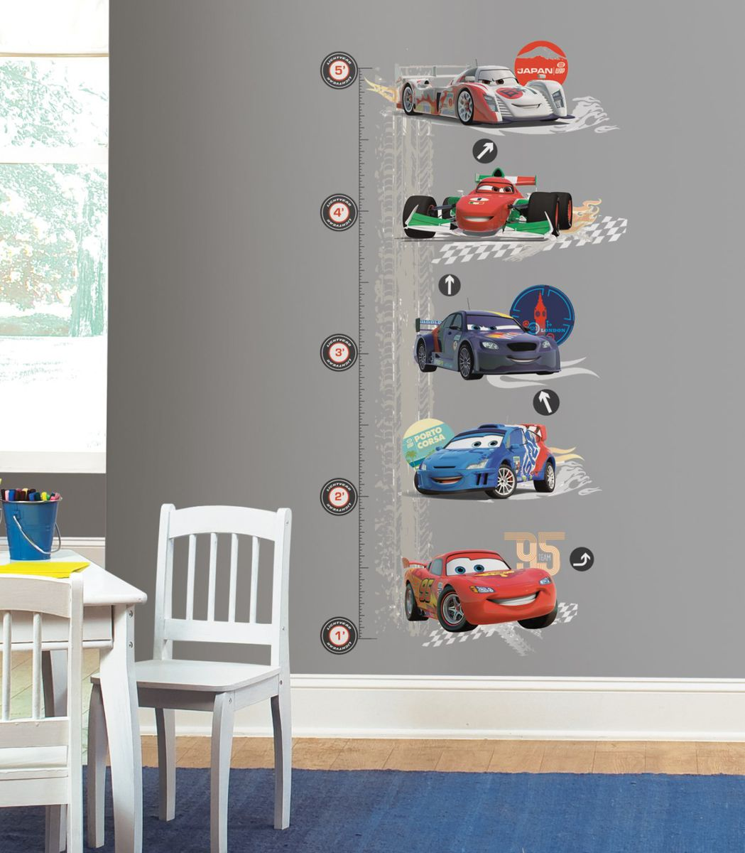Roommates Peel U0026 Stick Decals   Cars 2 Lightening Mcqueen Growth Chart Wall  Decor ...