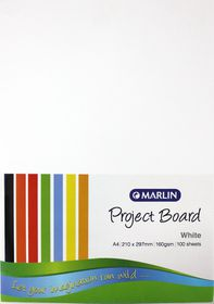 Marlin A4 Project Board 160gsm 100's - White
