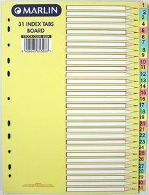 Marlin File 31 (1 - 31) Index Dividers 160gsm Pastel Board