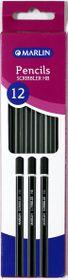 Marlin 12 Scribblers Black & Silver Striped HB Pencils