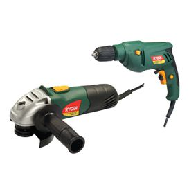 Ryobi - 500W Drill & 650W Grinder - Black and Green