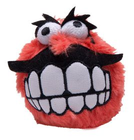 Rogz Fluffy Grinz Large 8cm Dog Plush Squeak Toy - Red