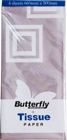 Butterfly Tissue Paper 4 Sheets - Silver (T36)