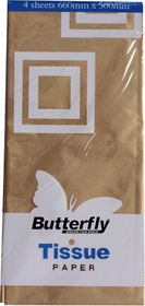 Butterfly Tissue Paper 4 Sheets - Gold (T38)