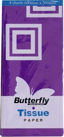 Butterfly Tissue Paper 4 Sheets - Purple (T27)