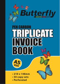 Butterfly A5 Triplicate Book - Invoice 150 Sheets