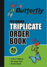Butterfly A5 Triplicate Book - Order 150 Sheets