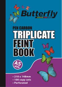 Butterfly A5 Triplicate Book - Feint Plain 150 Sheets