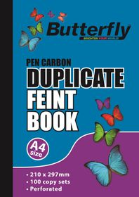 Butterfly A4 Duplicate Book - Feint 200 Sheets