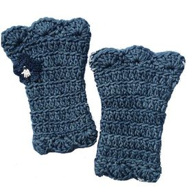 Buglets Crochet Wrist Warmers - Blue & Grey