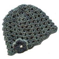 Buglets Crochet Scallops Beanie - Blue & Grey