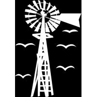 Vinyl Lady Windmill With Birds Wall Art Sticker - White