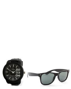 Digitime Black Gents Watch and Sunglasses Set