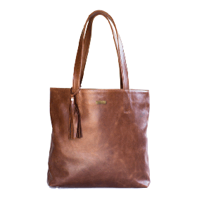 Mally Anna Tote Leather Handbag - Diesel Brown
