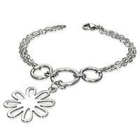 Jewelworx Stainless Steel 2-Strand Circle Flower Link Bracelet