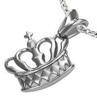 Jewelworx Stainless Steel Cross Princess Crown Pendant