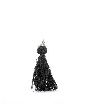 Jewels & Lace Single Tassel Necklace in Black