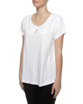 The Earth Collection Top Loop In Front & Woven Back - White