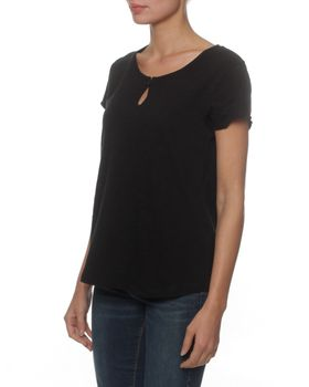 The Earth Collection Top Loop In Front & Woven Back - Black