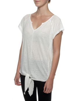 The Earth Collection Top With Tie Detail And Lace - Off White