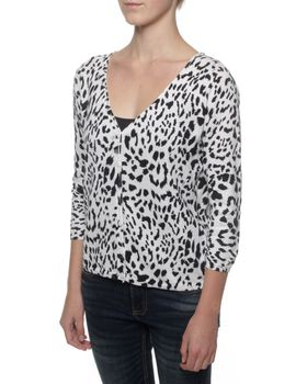 The Earth Collection 3/4 Sleeve V Neck Short Cardigan - Animal Print