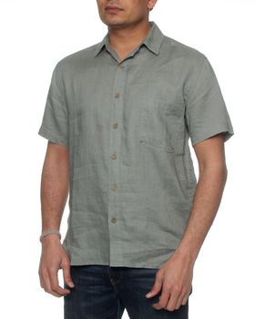 The Earth Collection Men's Classic Short Sleeve Linen Shirt - Shadow