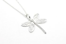 Coeval Sterling Silver Large Dragonfly Necklace