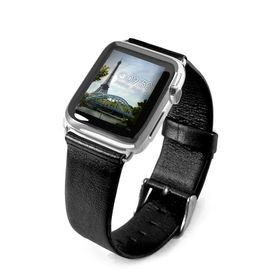 Tuff-Luv Genuine Leather Wrist Watch Strap Band for Apple Watch Strap 42mm - Black