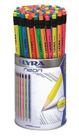 Lyra Neon 96 HB Graphite Pencils With Eraser Tip