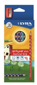 Lyra Groove Slim 12 Colour Pencils + Sharpener