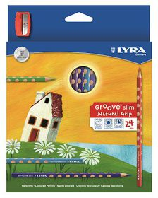 Lyra Groove Slim 24 Colour Pencils + Sharpener