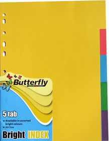 Butterfly A4 5 Tab Bright Board File Dividers