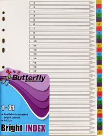 Butterfly A4 31 Tab (1-31) Bright Board File Dividers