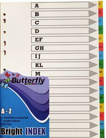 Butterfly A4 16 Tab (A-Z) Bright Board File Dividers