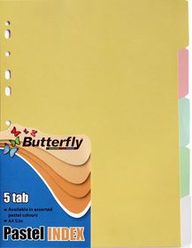 Butterfly A4 5 Tab Pastel Board File Dividers