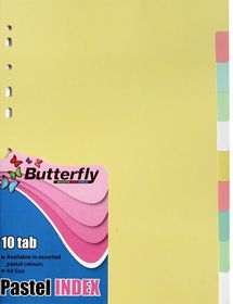 Butterfly A4 10 Tab Pastel Board File Dividers