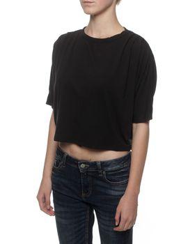 Straight Basics Cold Shoulder Top in Black