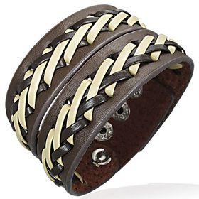 Jewelworx Genuine 2-Tone Leather Weave Criss-Cross Snap Wristband Bracelet
