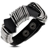 Jewelworx Genuine Black Leather Ringed Wrap Snap Bracelet