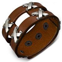 Jewelworx Genuine Light Brown Leather Row of Criss-Cross Stud Snap Wristband Bracelet