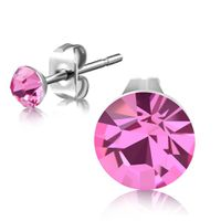 Jewelworx 3mm Stainless Steel Round Circle Stud Earrings with Bezel-Set Light Rose Pink Stellux Crystals