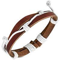 Jewelworx Fashion 2-Strand Wrap Rope Adjustable Brown Leather Bracelet
