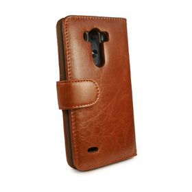 Tuff-Luv Vintage Genuine Leather Wallet Case Cover (inc screen protector) for LG G4 - Brown