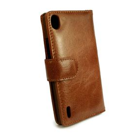 Tuff-Luv Vintage Leather Wallet Case Cover for Huawei Ascend P8 (Free Screen Protector) - Brown