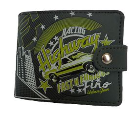 Fino Funky Men's Wallet - Grey & Apple Green