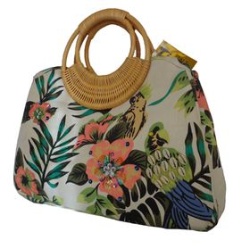 Embellished Printed Canvas Bag With Bamboo Handle - Apple Green