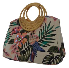 sequinned tropical garden printed canvas bag  with bamboo handle CJK05051 - Pink