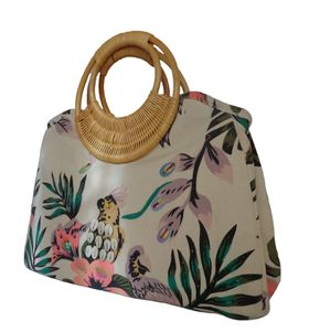 sequinned tropical garden printed canvas bag  with bamboo handle CJK05051 - Purple