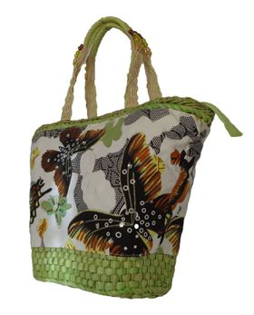 Fino sequinned butterfly Straw Basket With  beaded handles-Embellished Straw Basket With Prints CJK05053 - Apple Green