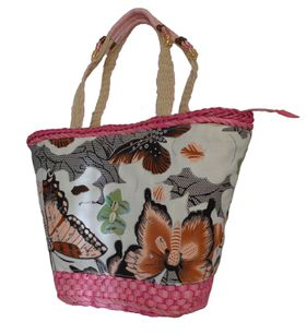 Fino sequinned butterfly Straw Basket With  beaded handles Embellished Straw Basket With Prints  CJK05053 - Pink